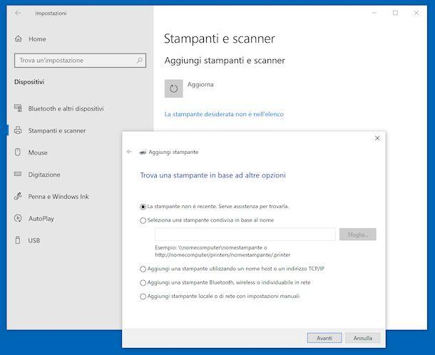 Configurazione stampante Windows 10