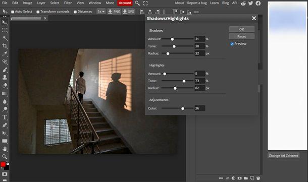 Come fare le ombre su Photoshop online con Photopea