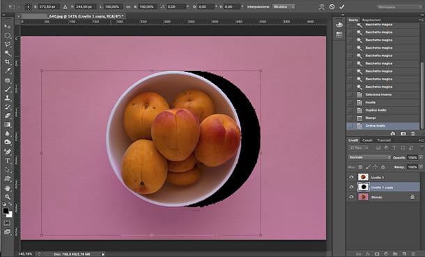 Come fare le ombre su Photoshop opzione Trasforma