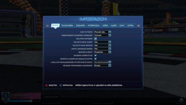 Screenshot delle opzioni di Rocket League