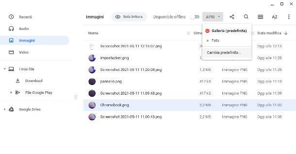 aprire file su Chromebook