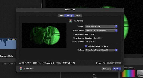 esportazione video final cut pro x
