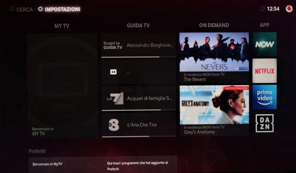 menu principale Vodafone TV