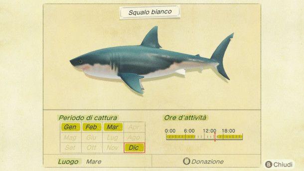 Risultato pesca di uno squalo in Animal Crossing