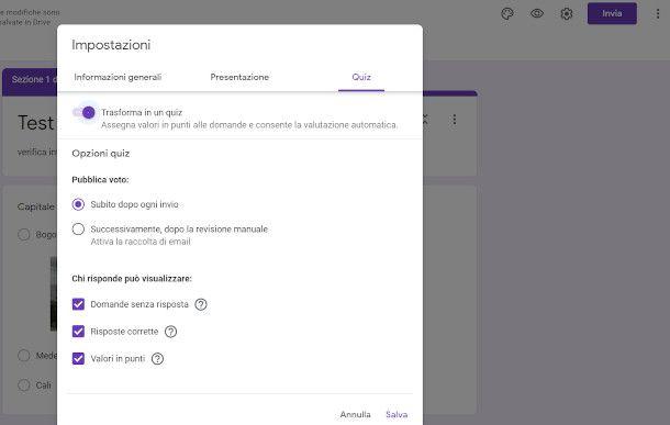 Google Moduli trasformare in quiz