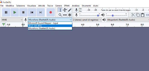 Audacity selezione input