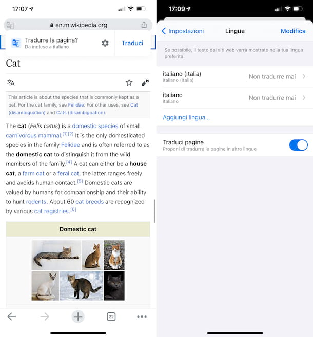 Chrome traduzione iPhone