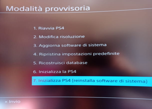Modalità provvisoria PS4