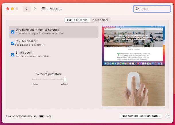 Preferenze di Sistema mouse macOS