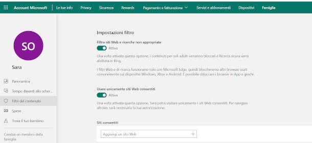 Filtro contenuti Windows 10