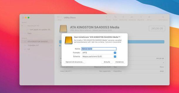 utility disco mac inizializzazione