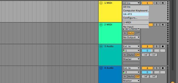 ableton live input audio