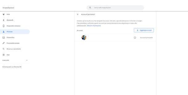 aggiungi account Chromebook
