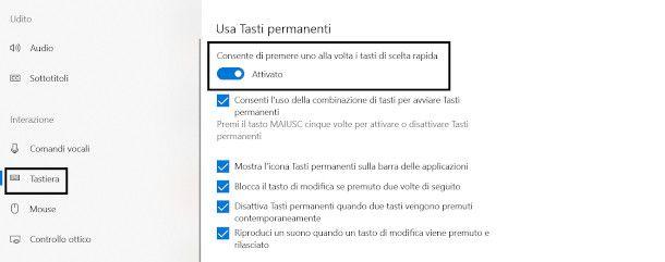 impostazioni windows 10 tasti permanenti