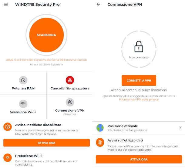 schemate funzionalità WINDTRE Security PRO