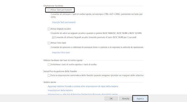 tasti permanenti pannello di controllo Windows 10