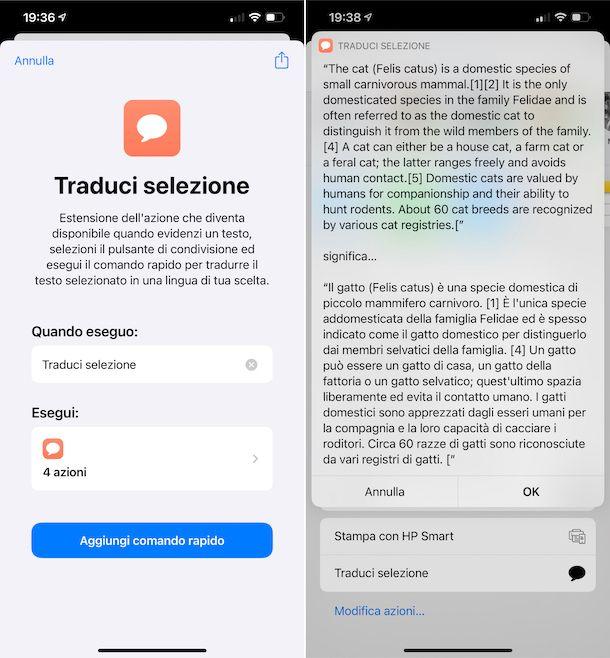 Comandi iOS traduzione