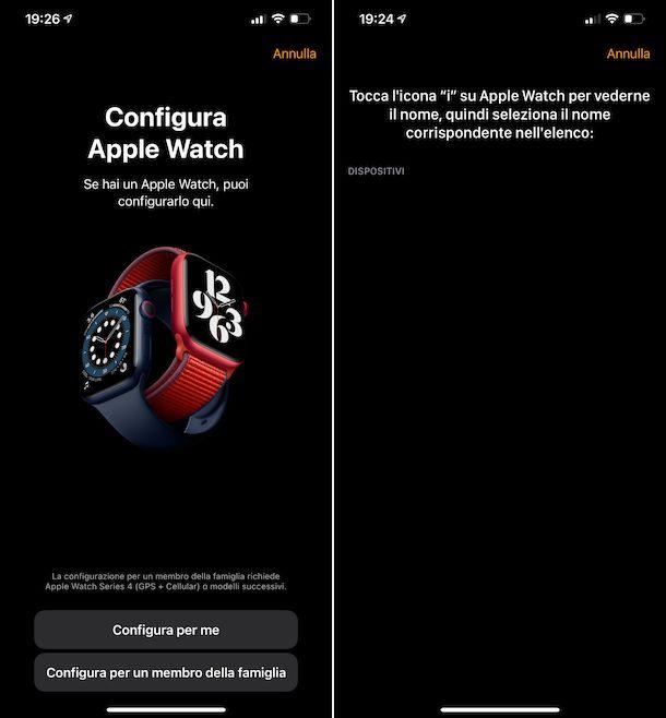 Abbinamento manuale Apple Watch