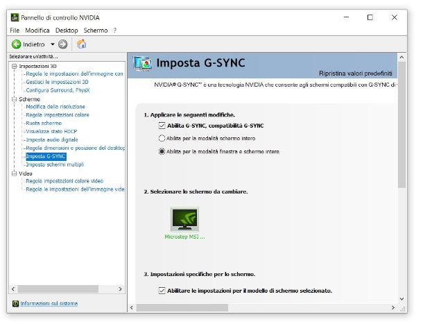 Attivare G-SYNC