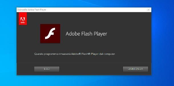 Come disinstallare Adobe Flash Player da Windows 10