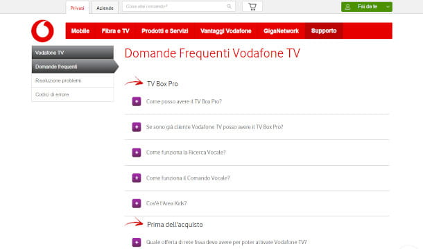 FAQ Vodafone TV