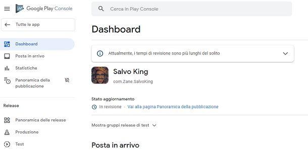 Applicazione inviata in revisione Play Store