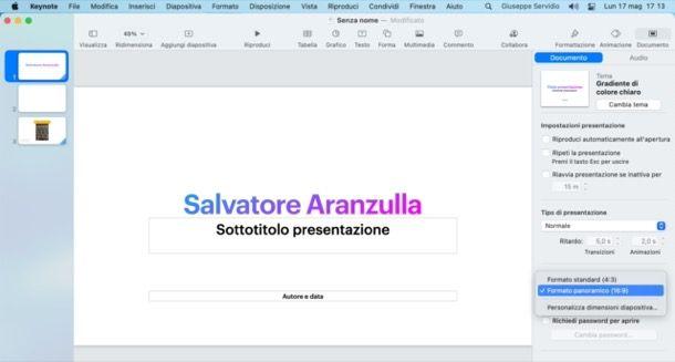 Cambiare formato presentazione Keynote