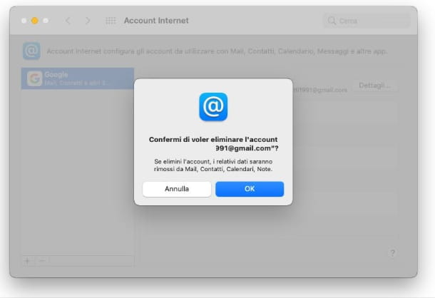 Eliminare Account Google da Mac