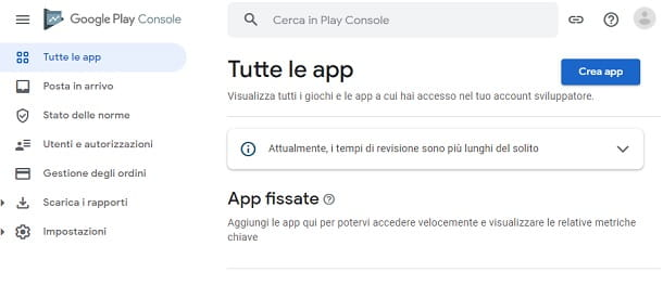 Crea app Google Play Console