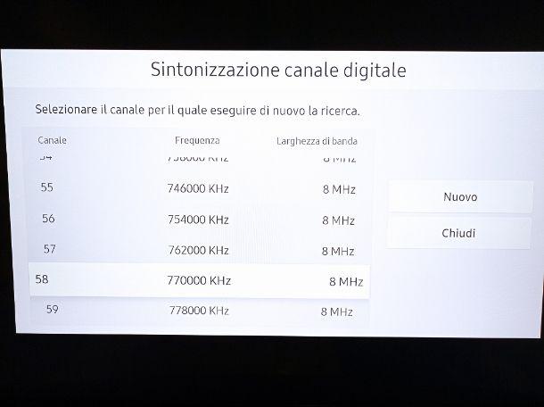 Sintonizzazione manuale Cielo TV