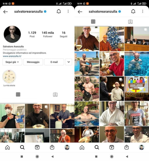 Feed personale di Instagram