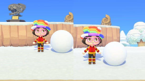 Grandezze palle di neve in Animal Crossing: New Horizons