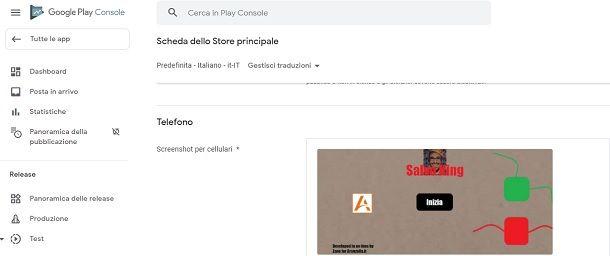 Caricamento screenshot Play Store