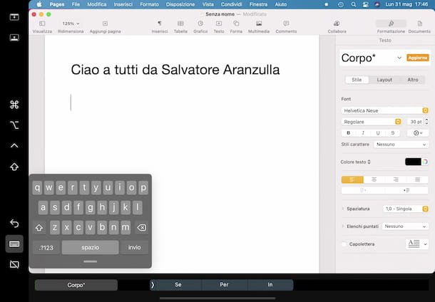 iPad tastiera Sidecar
