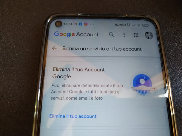 Eliminare Account Google