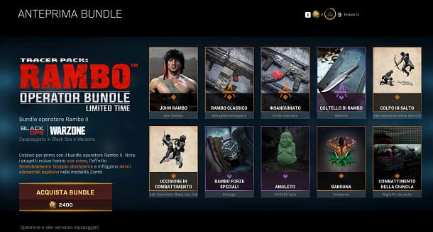 Contenuto bundle Rambo COD Warzone