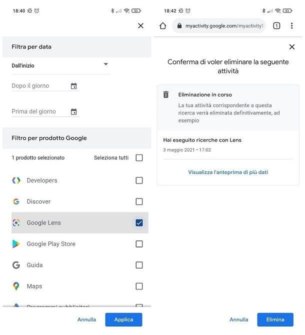 Come eliminare la cronologia di Google Lens
