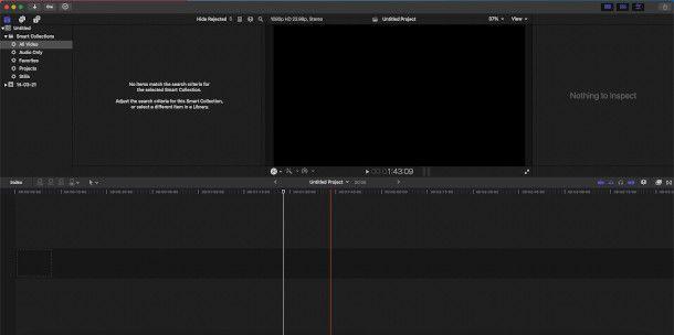 schermata principale final cut