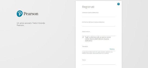 registrazione sito Pearson da web