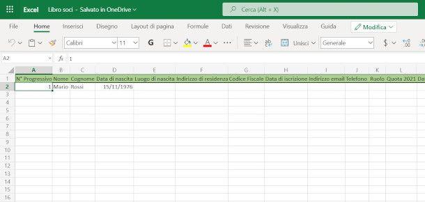 Libro soci Excel online