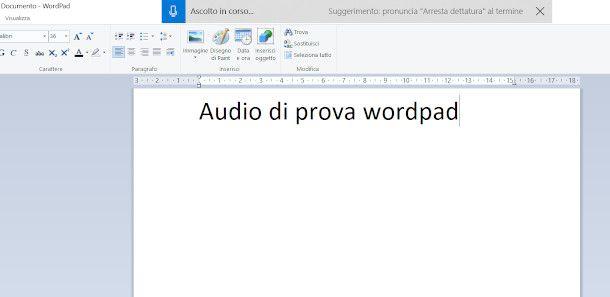 sbobinare un audio su Windows con wordpad