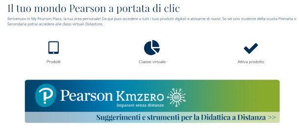 Attiva prodotto Web sito Pearson