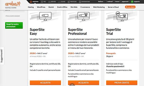 Come gestire un sito Web con SuperSite di Aruba