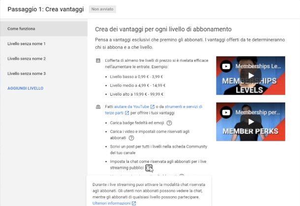 Impostazione pagamenti su YouTube Studio