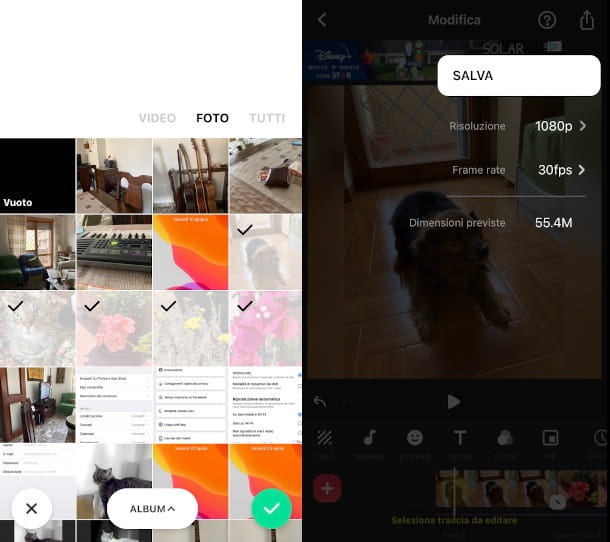 Inshot video con foto iPhone
