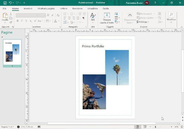 Schermata di Microsoft Publisher