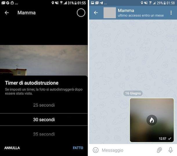 Telegram messaggi che si autodistruggono Android