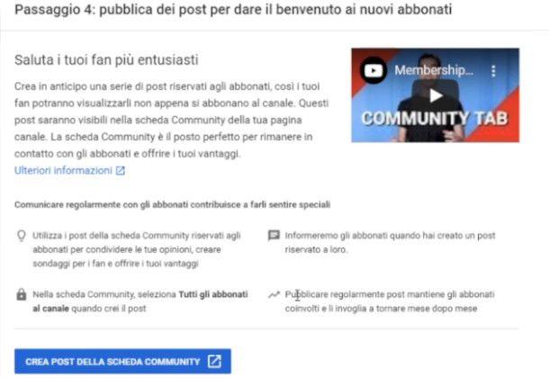 Impostazione post introduttivo su YouTube Studio