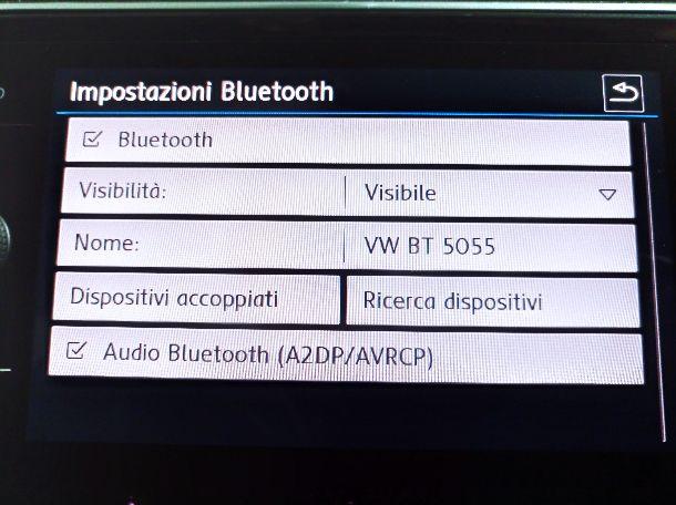 Impostazioni Bluetooth Volkswagen