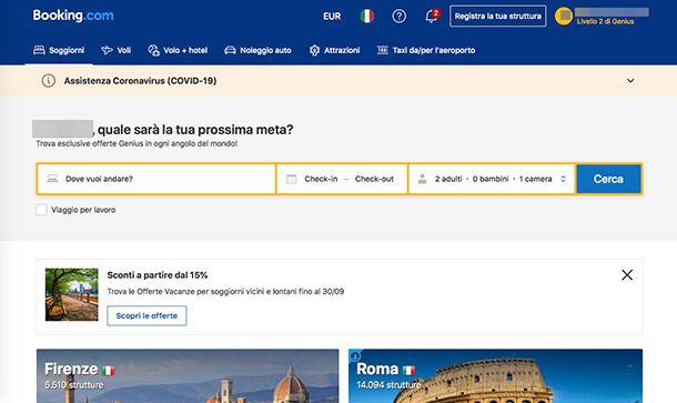 Migliori ecommerce Italia Booking.com